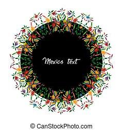 traditionell, stil, mexikanare, stad, färgrik, fåglar, mexico., text, ram, isolerat, runda, vävnad, blommig, hidalgo, broderi, tenango, påfåglar, mellerst, komposition, cirkulär