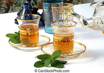 traditionell, te, mynta, marockansk
