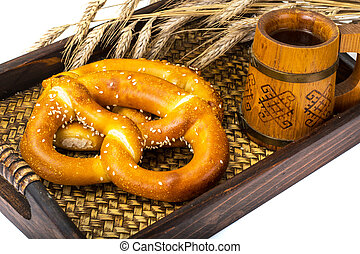traditionell, tysk, öl, mellanmål, Salt kringla