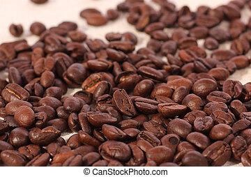 traditionell, vävnad, kaffe böna, säck