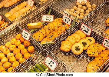 traditionelle , asiatische nahrung, markt, japan.
