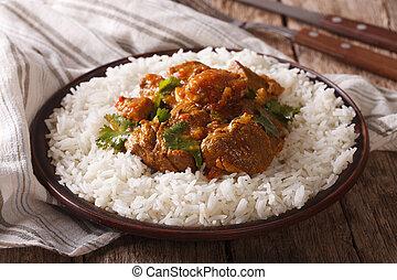traditionelle, bøf, madras, hos, garnere, basmati ris,...