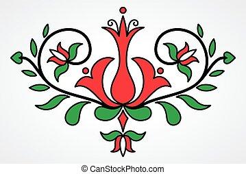 traditionelle, blomstrede, motif, ungarsk