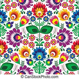 traditionelle, blomstrede, seamless, mønster