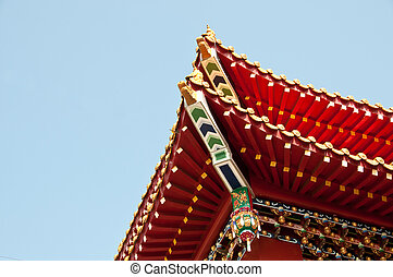 traditionelle , dach, wenwu, tempel, sonne, mond, see, taiwan