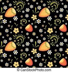 traditionelle , felder, stil, khokhloma, erdbeer