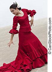 traditionelle , frau, spanischer , flamenco tänzer, in, rotes kleid