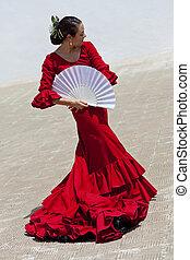 traditionelle , frau, spanischer , flamenco tänzer, in, rotes kleid, mit, fächer
