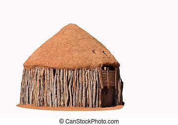 traditionelle , himba, hütten, leute