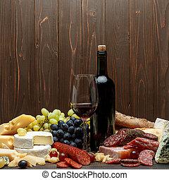 traditionelle , italienesche, produkte, mit, salami, sausage, prosciutto, kã¤se, und, wein