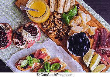 traditionelle, italiensk, antipasto