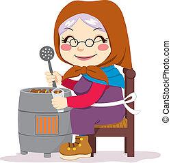traditionelle, kastanjer, ristede