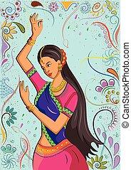 traditionelle, kvinde, indisk, dans poser
