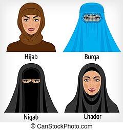 traditionelle, kvinder, muhammedansk, headwear
