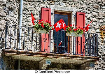 traditionelle , landhaus, in, switzerlands, alps