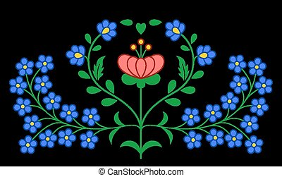 traditionelle, mønster, ungarsk, folk, broderi