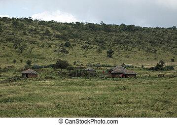 traditionelle , masai, dorf, in, kenia