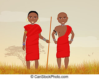 traditionelle , masai, maenner