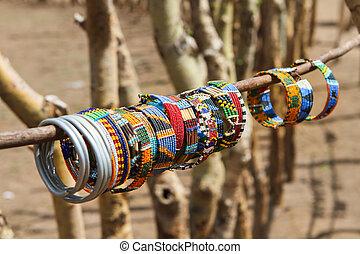 traditionelle , masai, schmuck