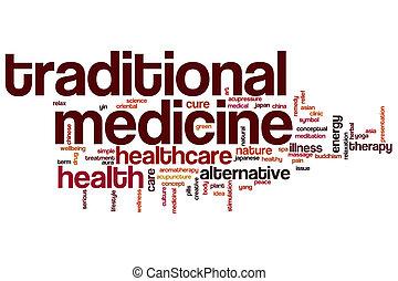traditionelle medizin, wort, wolke