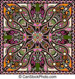 traditionelle, ornamental, paisley, blomstrede, bandanna