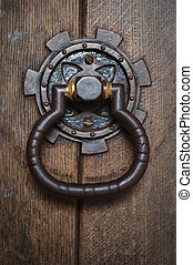 traditionelle, -, periode, -, antik, -, gadedør, hammeren