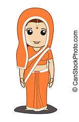 traditionelle, saree, kvinde, indisk