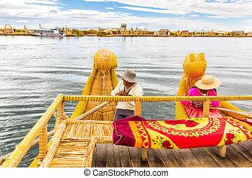 traditionelle , schilfgras, boot, see titicaca, amerika,...