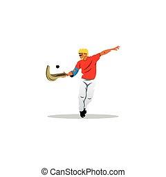 traditionelle , spanischer , pelota, sport, zeichen., jai,...