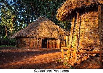 traditionelle , stammes-, dorf, kenianer, leute