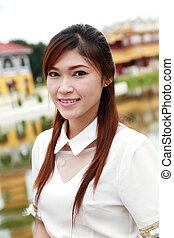 traditionelle , stil, frauen, thailändisch, soße