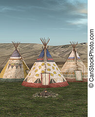 traditionelle , teepee, dorf