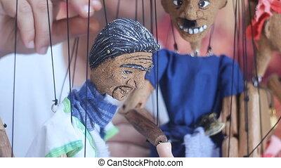 traditionelle , thailändisch, marionette, schnur