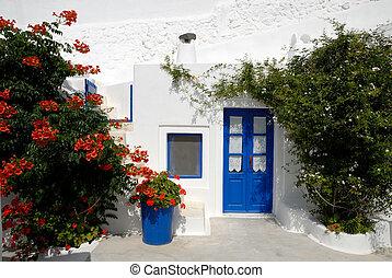 traditionelle , weißes haus, in, santorini, griechenland