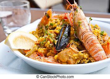 Prawn with rice - closeup of prawn with rice
