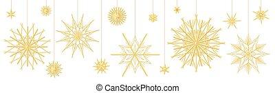 traditionnel, étoile, paille, collection, décoration, noël