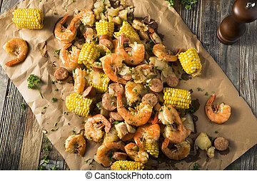 traditionnel, acadien, fait maison, bouillir, crevette