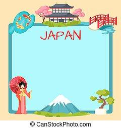 traditionnel, affiche, éléments, oriental, japon