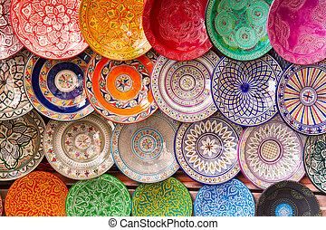 traditionnel, arabe, plates., coloré, argile