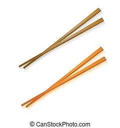 traditionnel, asiatique, baguettes, coloré