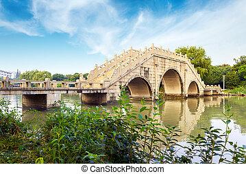traditionnel, bâtiment, bridges., chinois