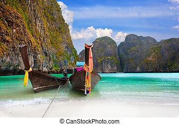 traditionnel, bateaux, thaï, île, baie, maya, phi-phi