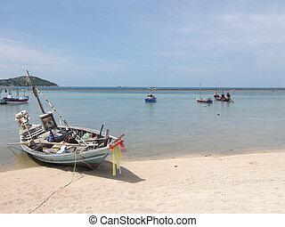 traditionnel, bateaux, thaï, plage, thaïlande