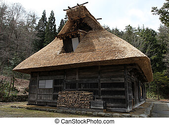 traditionnel, bois, hutte, takayama, couvert chaume, japan.