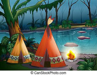 traditionnel, bois, indien, tentes