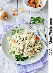 traditionnel, champignons, risotto