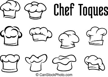 traditionnel, chef cuistot, chapeaux, toques, casquettes