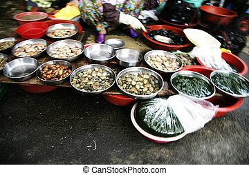 traditionnel, corée, marché, sud