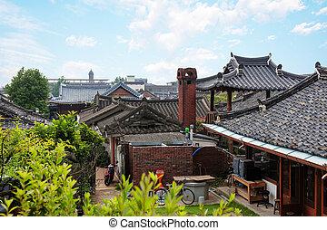 traditionnel, corée sud, hanok, village