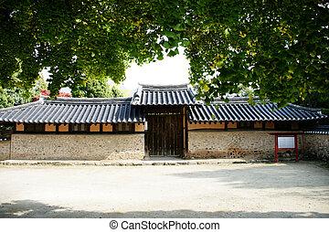traditionnel, corée, sud, village